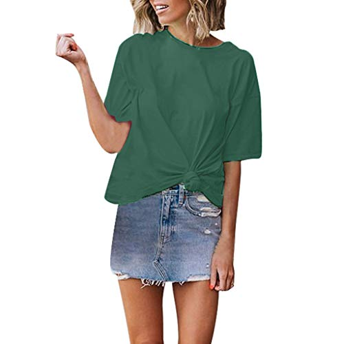 LISTHA Basic Knotted T Shirt Women Casual Crewneck Short Sleeves Tops Blouse Tee Green ()