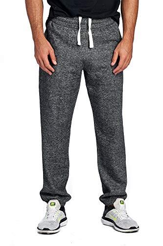 ProGo Men's Closed Bottom Casual Regular Fit Fleece Sweatpants with Elastic Waist (Marled Black, Medium)