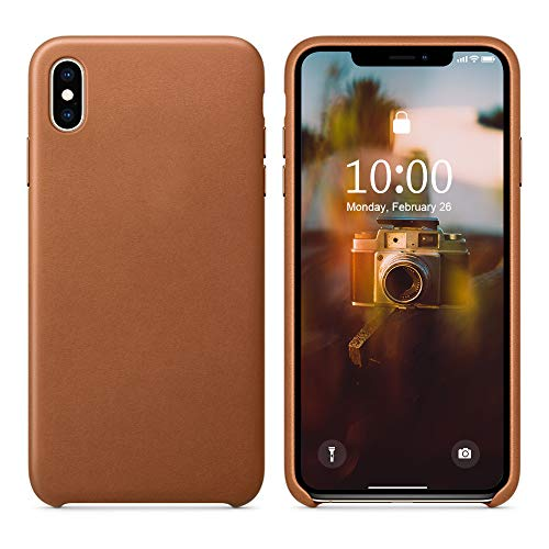 SURPHY Leather Case for iPhone X iPhone Xs Case, Genuine Leather Protective Case Cover (Slim Case with Metallic Buttons & Microfiber Lining) Compatible with iPhone X XS 5.8 (Brown)