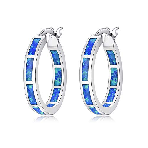 CiNily Sterling Silver Plated Hoop Earrings, Blue Opal Small Hoop Earrings for Women Girls Hypoallergenic Earring Jewelry Ear Hoops Gemstone Round Hoops for Ladies
