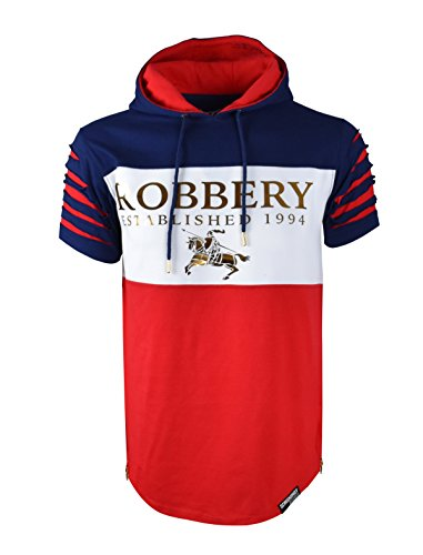 SCREENSHOTBRAND-765 Mens Hipster Hip Hop Premium Streetwear Tee - Pullover Urban Fashion Hoodie w/ Side Zipper Roberry-Navy-Xlarge