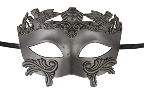 1 X New Roman Egyptian Men's Mask Ancient Greek Mardi Gras Venetian All Black Mask Halloween Ball Masquerade Mask