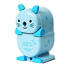 Lovely Cute Cat Hand Rotating Pencil Sharpener For Office Classroom, Blue