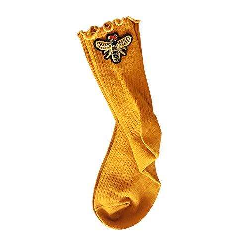 Ins Style!Mlide Wavy Side Bee Pattern Socks,Winter Female Xmas Hip Hop Socks (Yellow)