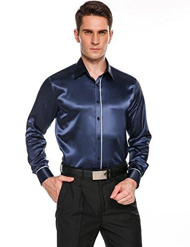 COOFANDY Mens Party Dance Button Shirt Prom Satin Luxury Casual Long Sleeve Dress Shirts (Silk Shirt Plaid)