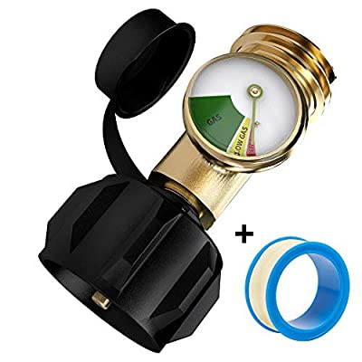 SHINESTAR Propane Tank Gauge Level Indicator Leak Detector Gas Pressure Meter for RV Camper, Cylinder, Gas Grill, Heater and Type 1 Connection Propane Bottle, Coming with Thread Seal Tape