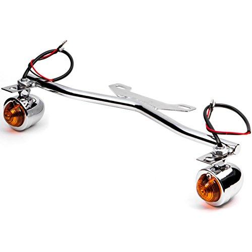 Krator Chrome Driving Passing Lamp Spot Light Bar Bracket with Turn Signals Motorcycle for Honda VTX 1300 C R S RETRO (Bar Light Honda Vtx 1300)