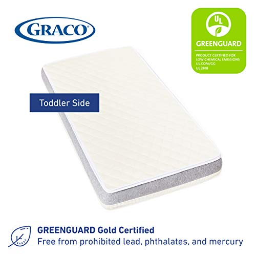 41I0C7VveXL - Graco Ultra Dual-Sided Premium Crib And Toddler Mattress – 2 Sides For Baby And Toddler, CertiPUR-US, GREENGUARD, JPMA Certified Crib And Toddler Bed Mattress, Water-Resistant, Machine-Washable Cover