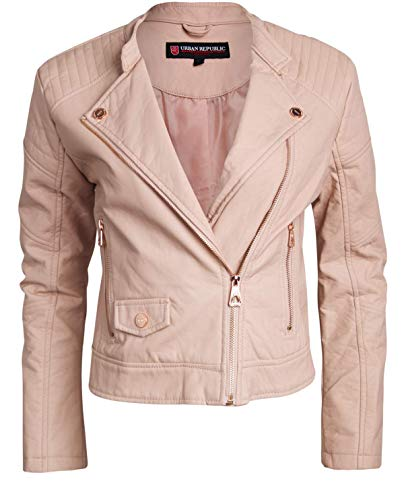 (Urban Republic Women Faux Leather Moto Biker Jacket with Studded Detailing (Blush Pink,)