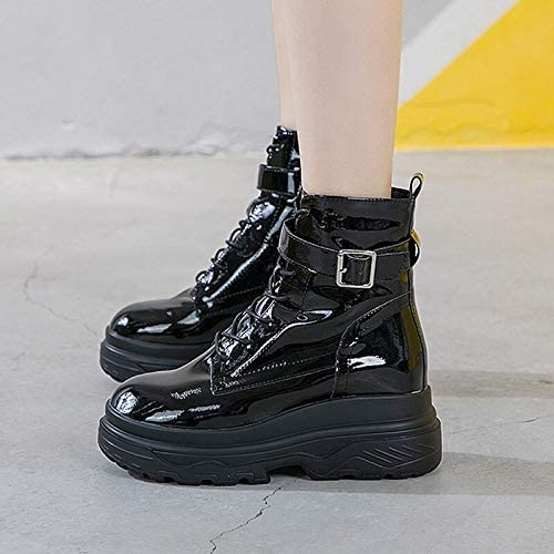 ACWTCHY Patent Lederen Enkel Laarzen Voor Vrouwen Hoogte Toename 8 Cm Platform Laarzen Gesp Band Winter Schoenen Vrouwen Zwart