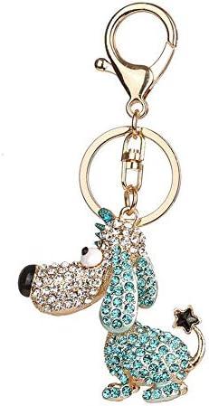 ラインストーンキーホルダー子犬の形のキーリング合金キーリングバッグ車の装飾(03)
