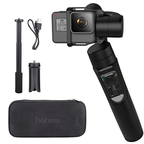 Hohem iSteady Pro 3-Axis Handheld Gimbal for DJI Osmo Action, Gopro Hero 7 6 5 4 3, Sony RXO, SJCAM, YI Cam - with PERGEAR Extension Rod Stick and Cleaning Cloth (Video Switch Converge)