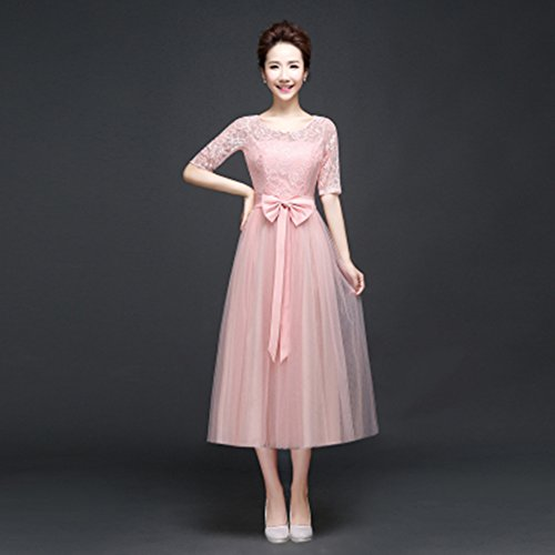 KAKA(TM)Women's Elegant Prom Dresses Short sleeve Bridesmaid Dress-L(Flesh Pink)