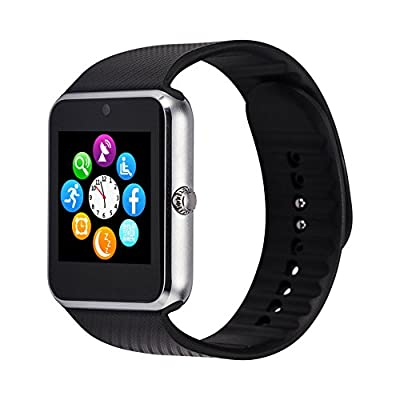 LEMFO Bluetooth Smart Watch Support SIM & TF Card Phone Smartwatch Notification Reminder Sleep Monitor Fitness Wristwatch for IOS Android (Sliver)