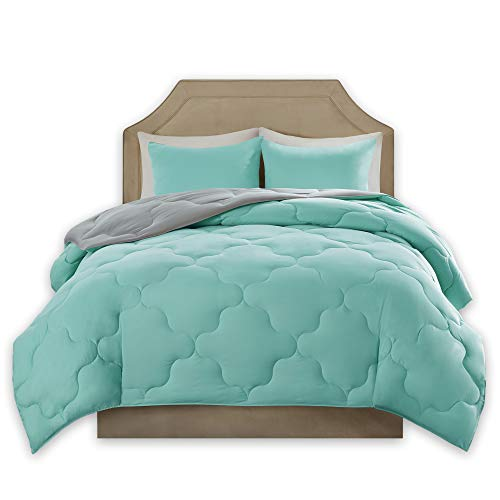 Comfort Spaces – Vixie Reversible Goose Down Alternative Comforter Mini Set - 2 Piece – Aqua and Grey – Stitched Geometrical Pattern – Twin/Twin XL Size, Includes 1 Comforter, 1 Sham