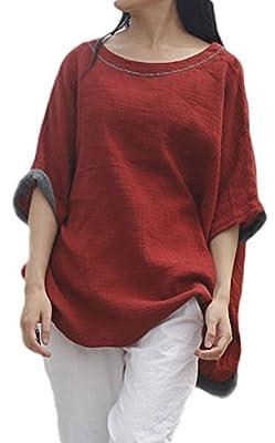 Soojun Women's Casual Loose Batwing Sleeve Cotton Linen Top Blouses