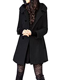 Women's Winter Double Breasted Wool Blend Long Pea Coat with Hood