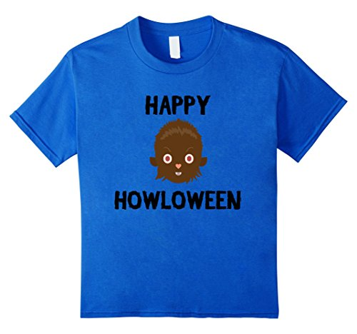 Last Laugh Clown Child Costumes (Kids Halloween Shirt - Wolf Howloween Funny Shirt 8 Royal Blue)