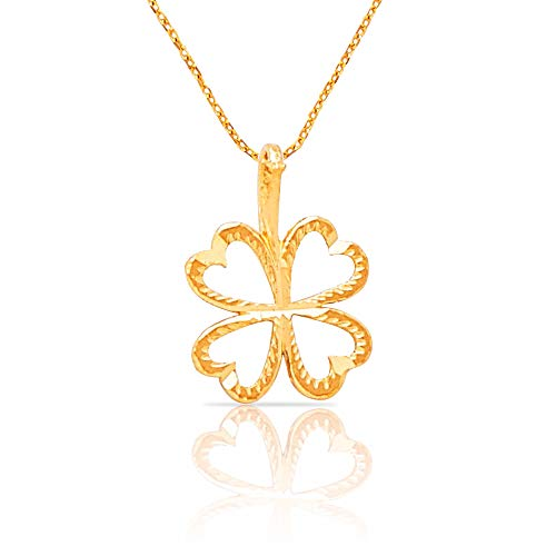 - Solid 14k Yellow Gold Four Leaf Clover Diamond Cut Pendant Necklace | Includes 20