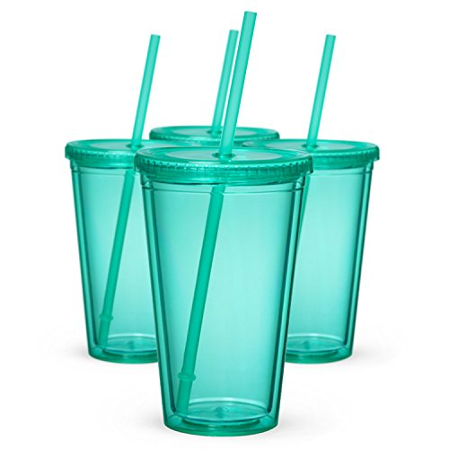Maars Classic Insulated Tumblers 16 oz. | Double Wall Acrylic | Mint - 4 pack Lid Mint