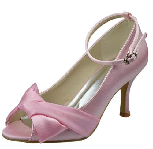 Minitoo - Sandalias de vestir de satén para mujer rosa - rosa