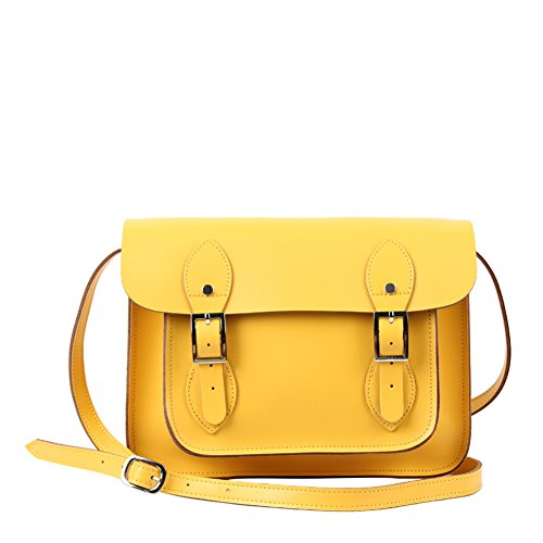 "Yasmin Leather Satchel YLS011 - 11"" Small Yellow"