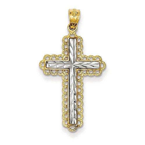 14 carats Or jaune Rhodium plaqué taille diamant pendentif croix-JewelryWeb