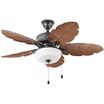 Home decorators collection palm cove 44 in led indoor outdoor natural iron ceiling fan with light kit