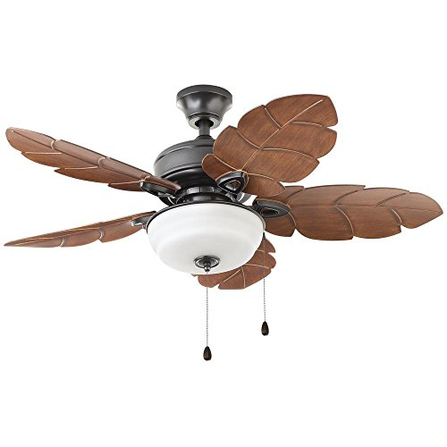Home Decorators Collection Palm Cove 44 in. LED Indoor/Outdoor Natural Iron Ceiling Fan with Light ()