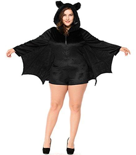 URVIP Women's Bat Halloween Cosplay Costume Fancy Dress up Black XXXL ()