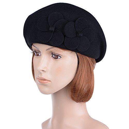 Vbiger Baskenmützen Barett Wollmütze Damen Fedora Hut für Damen