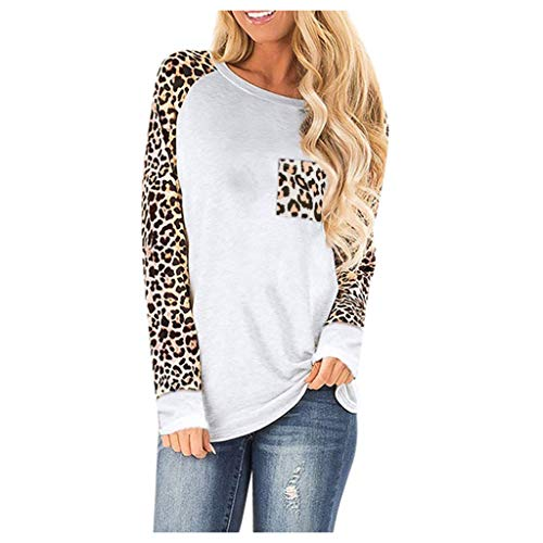 Severkill Woman Casual Tops Long Sleeve Leopard Print Patchwork Plus Size T-Shirt Blouses White