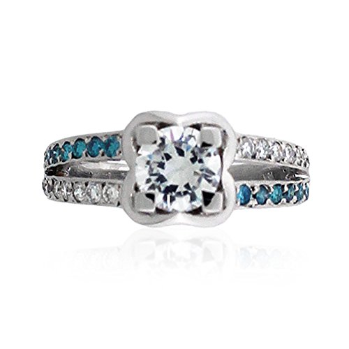 .56 Cts Blue & White Diamond Pave Semi Mount Engagement Ring 18k White Gold - Item SM-1011BD