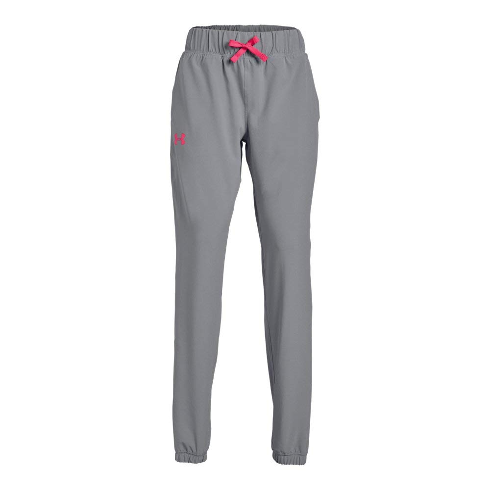 Under Armour Girls Jersey-Lined Woven Jogger, Steel (035)/Penta Pink, Youth X-Small
