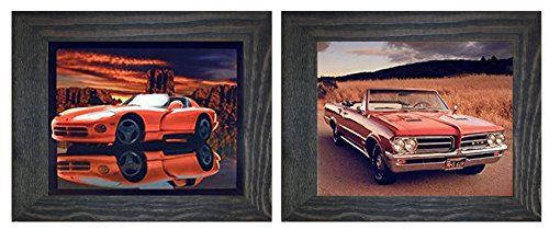 Framed Wall Decor 1964 Pontiac GTO and Red Hot Dodge Viper Classic Vintage Sports Car 2 Set Art Print Posters ()