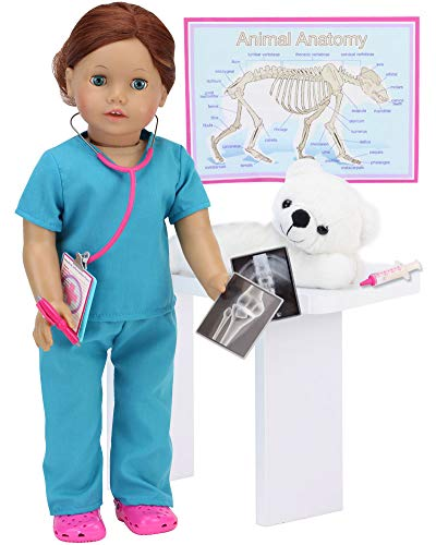 Smithsonian Veterinarian Set for Dolls | 9 Piece Vet Set Sized for 18 in Dolls Includes Polar Bear, Scrubs, Stethoscope, X-Rays, Syringe and More from Sophia's