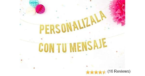 Guirnalda Personalizada con nombre o tu Mensaje para Bodas, Fiestas, Bebé y Despedidas de Soltera Cartel letras doradas con tu mensaje perfecto para ...