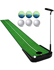 Indoor Golf Putting Green Mat, with Electric Return Ball Design, 1 Putter and 6 Ball, Mini Golf Practice Training Aid, Game and Gift for Home, Office, Outdoor Use