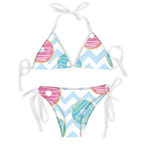 Women's Bathing Suits Donut Isolated Print Thong Bikini Swimwear Set?