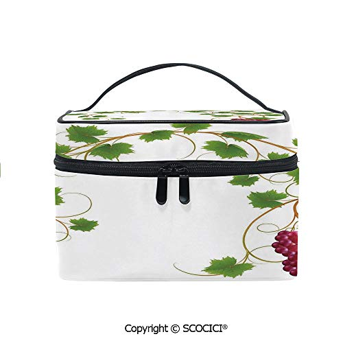 Printed Makeup Bag Organizer toiletry bag Curved Ivy Branch Deciduous Woody Wines Seed Clusters Cabernet Kitchen for Girls Ladies