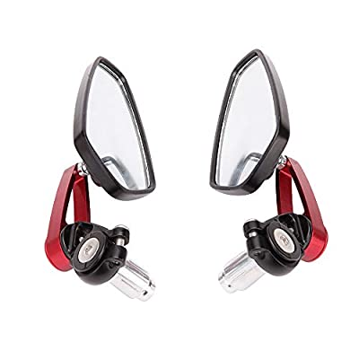Red Motorcycle Bar End Mirrors Rear View CNC For Honda GROM MSX125 CB500F Kawasaki Z125 Z650 Z750 Z800 Z900 ER6N ER6F: Automotive