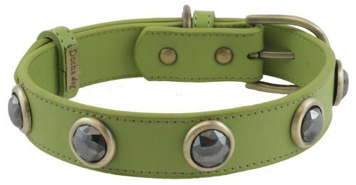 Faceted Hematite Green Leather Dog Collar - Medium