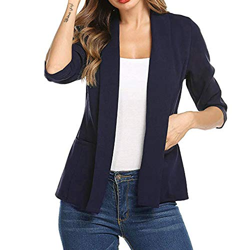 3/4 Sleeve Blazer for Women GOVOW Clearance Sale Open Front Short Cardigan Suit Jacket Work Office Coat(US:12/CN:XL,ZZ-Navy) (Silk Blazer Cream)