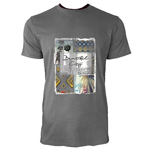 SINUS ART® Ethno Print mit Palmen Beautiful City Herren T-Shirts in Grau Charocoal Fun Shirt mit tollen Aufdruck