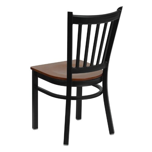 Flash Furniture HERCULES Series Black Vertical Back Metal Restaurant Chair - Cherry Wood Seat by Flash Furniture (Image #2)