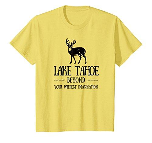 Price comparison product image Kids Lake Tahoe Shirt Deer Hiking Tee Lake Vacation Trip T-Shirt 12 Lemon