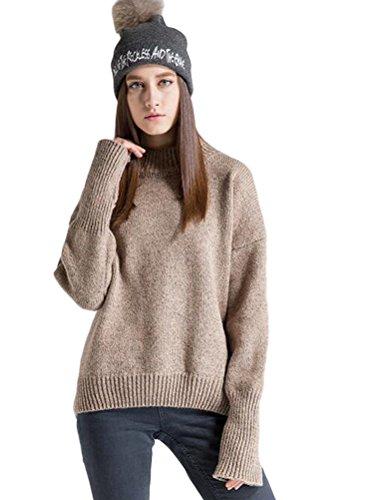 Vogstyle Suéter De Cuello Alto Mujer Suéter Casuales Estilo-3 pierna