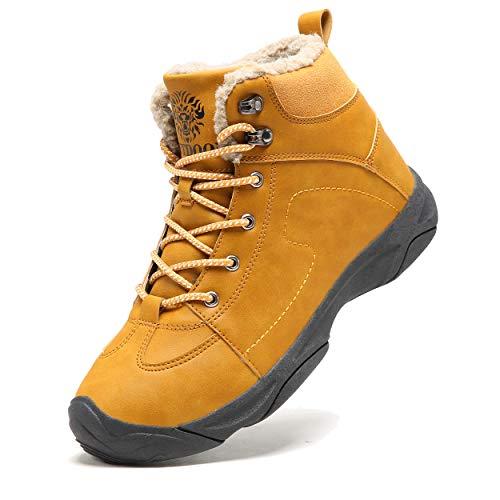 Axcone Homme Femme Chaussures Trekking Randonnée Bottes de Neige Hiver Imperméable Outdoor Boots Fourrure Cuir… 1