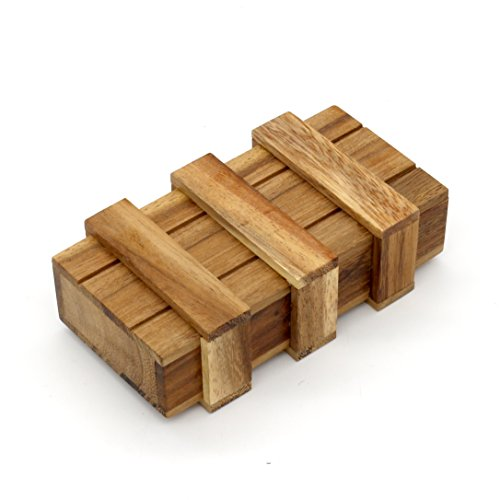 BSIRI The Magic Box Puzzle Brain Teaser Box Monkey Pod Wooden Secret Trick Intelligence Compartment Magic Money Gift Box Wooden Trick Puzzle Games Magic Wooden Box with Extra Secure Secret Drawer