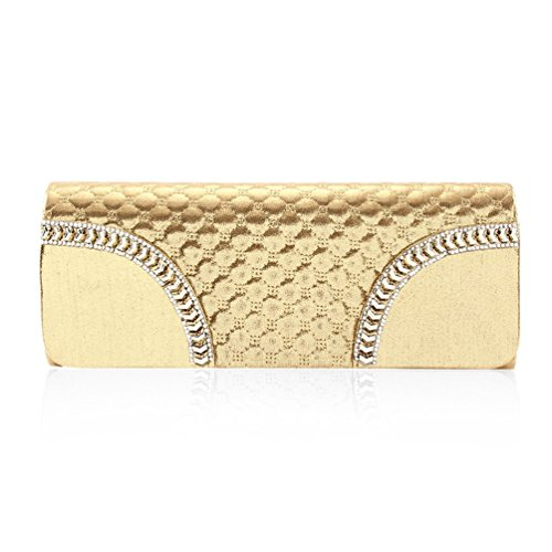 Women ring Grid Gold Wedding Flap Handbag Crystal Semi Damara 4Tqw64